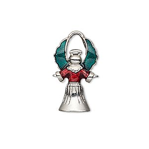 charm, enamel and imitation rhodium-plated pewter (zinc-based alloy), green and red, 24x13mm single-sided angel. sold individually.
