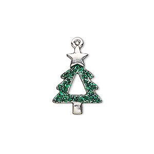 charm, enamel and imitation rhodium-plated pewter (zinc-based alloy), green with glitter, 20x14mm single-sided christmas tree. sold individually.