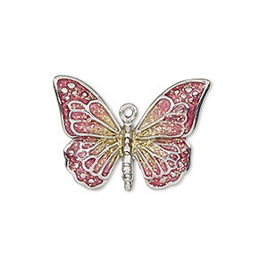 charm, enamel and imitation rhodium-plated pewter (zinc-based alloy), pink and yellow with glitter, 26x19mm single-sided butterfly. sold individually.