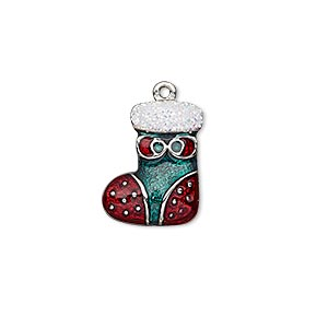charm, enamel and imitation rhodium-plated pewter (zinc-based alloy), white / red / green with glitter, 17x13mm single-sided stocking. sold individually.