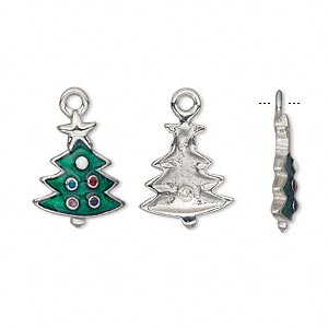 charm, enamel and pewter (tin-based alloy), 18.5x12mm christmas tree. sold per pkg of 2.
