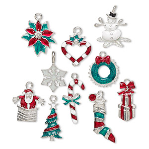 charm, enamel and pewter (tin-based alloy), multicolored, 28x17mm-31x15mm christmas theme. sold per 10-piece set.