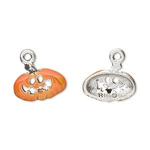 charm, enamel and pewter (tin-based alloy), orange, 16x10mm pumpkin. sold per pkg of 2.