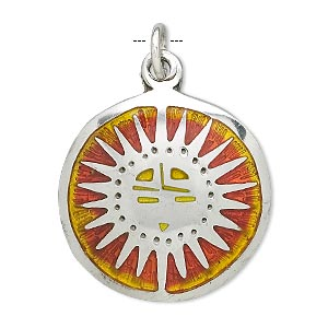 charm, enamel and pewter (tin-based alloy), orange and yellow, 29mm round with sun symbol. sold individually.