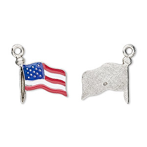 charm, enamel and pewter (tin-based alloy), red / white / blue, 16x14mm usa flag. sold per pkg of 2.