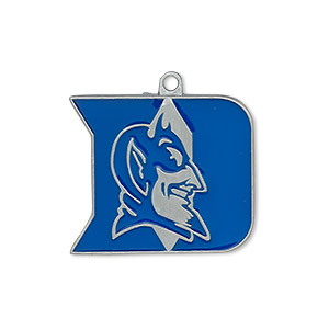 charm, enamel and pewter (zinc-based alloy), blue, 25x22mm single-sided duke blue devils. sold individually.
