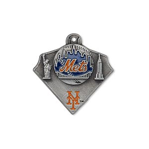 charm, enamel and pewter (zinc-based alloy), blue and orange, 23x21mm single-sided mlb™ new york mets. sold individually.