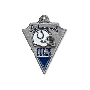 charm, enamel and pewter (zinc-based alloy), blue and white, 29x22mm single-sided nfl indianapolis colts. sold individually.