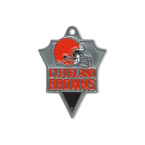 charm, enamel and pewter (zinc-based alloy), brown and orange, 29x22mm single-sided nfl cleveland browns. sold individually.