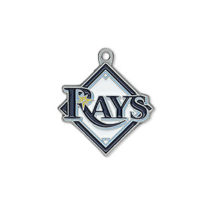 charm, enamel and pewter (zinc-based alloy), multicolored, 22x22mm single-sided mlb™ tampa bay rays. sold per pkg of 2.