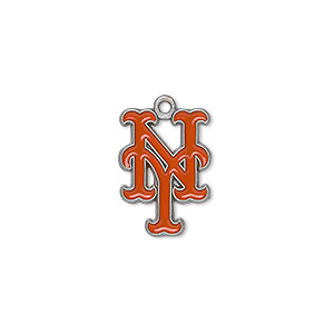 charm, enamel and pewter (zinc-based alloy), orange, 18x13mm single-sided mlb™ new york mets. sold per pkg of 2.