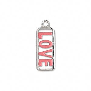 charm, enamel and pewter (zinc-based alloy), pink, 21x9mm single-sided rectangle with love. sold individually.