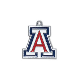 charm, enamel and pewter (zinc-based alloy), red / white / blue, 19.5x18.5mm single-sided university of arizona wildcats. sold individually.