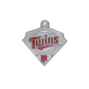 charm, enamel and pewter (zinc-based alloy), red, 23x21mm single-sided mlb™ minnesota twins. sold individually.