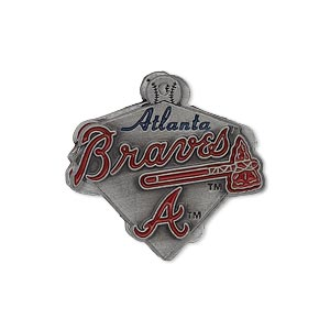 charm, enamel and pewter (zinc-based alloy), red, 26x25mm single-sided mlb™ atlanta braves. sold individually.