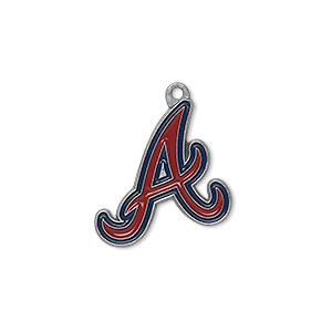 charm, enamel and pewter (zinc-based alloy), red and blue, 20x18mm single-sided mlb™ atlanta braves. sold per pkg of 2.