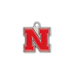 charm, enamel and pewter (zinc-based alloy), scarlet / white / black, 17x16mm single-sided university of nebraska cornhuskers. sold per pkg of 2.