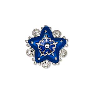 charm, enamel and silver-plated pewter (zinc-based alloy), blue, 20x20mm single-sided star, 5 loops. sold individually.