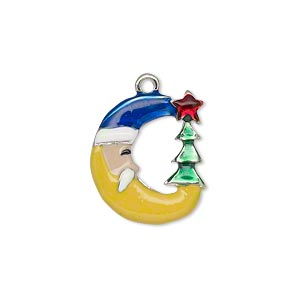 charm, enamel and silver-plated pewter (zinc-based alloy), multicolored, 19x17mm single-sided moon face with santa claus face and christmas tree with star. sold individually.
