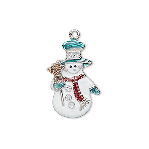 charm, enamel and silver-plated pewter (zinc-based alloy), multicolored with glitter, 23x15mm single-sided snowman with hat / broom / scarf. sold individually.