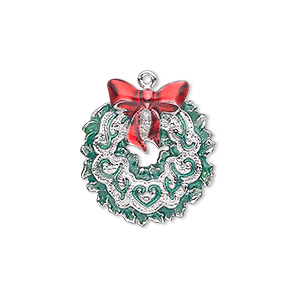 charm, enamel and silver-plated pewter (zinc-based alloy), red and green, 22x20mm single-sided wreath with bow. sold individually.