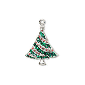 charm, enamel and silver-plated pewter (zinc-based alloy), red and green with glitter, 21x17mm single-sided christmas tree. sold individually.