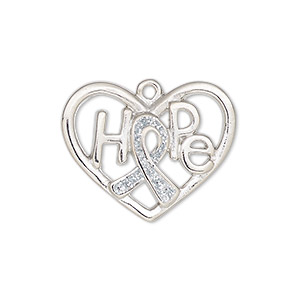 charm, enamel and silver-plated pewter (zinc-based alloy), white glitter, 26x20mm open heart awareness ribbon with hope. sold individually.