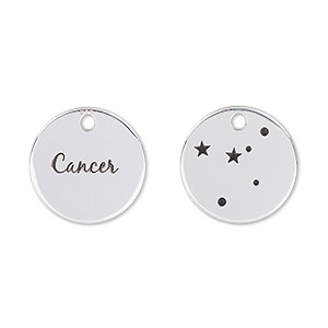 charm, enamel and sterling silver, black, 16mm two-sided flat round with cancer and constellation. sold individually.