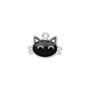 charm, enamel and sterling silver, black and white, 14x9mm single-sided cat face. sold individually.