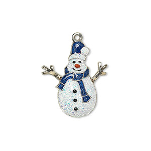 charm, enamel with silver-plated and gold-finished pewter (zinc-based alloy), multicolored with glitter, 22.5x19mm single-sided snowman. sold individually.
