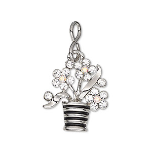 charm, glass rhinestone / enamel / imitation rhodium-plated brass / pewter (zinc-based alloy), clear ab / clear / black, 21x19mm single-sided flowers in pot. sold individually.