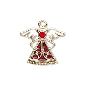 charm, gold-finished pewter (zinc-based alloy) / swarovski crystal rhinestone / enamel, light siam and dark red, 24x19mm single-sided angel. sold individually.