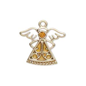 charm, gold-finished pewter (zinc-based alloy) / swarovski crystal rhinestone / enamel, topaz and yellow, 24x19mm single-sided angel. sold individually.