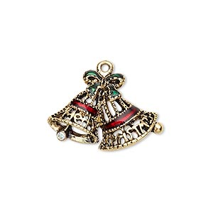 charm, gold-finished pewter (zinc-based alloy) / swarovski crystal rhinestone / enamel, green / red / crystal ab, 25x17mm single-sided filigree bells with bow and merry christmas. sold per pkg of 2.