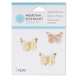charm, gold-finished pewter (zinc-based alloy), 20x15mm butterfly enamel blank. sold per pkg of 2.