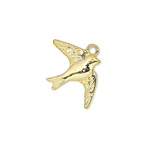 charm, gold-finished pewter (zinc-based alloy), 23x18mm single-sided flying swallow. sold per pkg of 20.