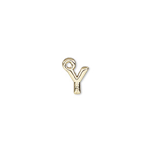charm, gold-finished pewter (zinc-based alloy), 8x7.5mm alphabet letter y. sold per pkg of 2.