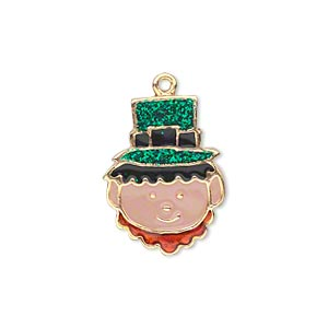 charm, gold-finished pewter (zinc-based alloy) and enamel, green / black / brown / peach, 22x16mm single-sided leprechaun face with glitter hat. sold per pkg of 2.