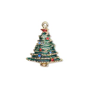 charm, gold-finished pewter (zinc-based alloy) and enamel, green / red / blue, 20x19mm single-sided christmas tree. sold per pkg of 2.