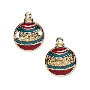 charm, gold-finished pewter (zinc-based alloy) and enamel, green and red, 15mm single-sided christmas ornament with feliz and navidad. sold per pkg of 2.