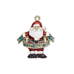 charm, gold-finished pewter (zinc-based alloy) and enamel, multicolored, 23x22mm single-sided santa claus with merry christmas banner. sold per pkg of 2.