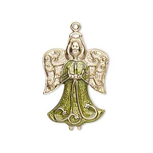 charm, gold-finished pewter (zinc-based alloy) and enamel, peridot green, 27x19mm single-sided angel. sold individually.
