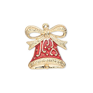 charm, gold-finished pewter (zinc-based alloy) and enamel, red, 20.5x19.5mm single-sided bell with fancy bow. sold individually.