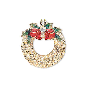 charm, gold-finished pewter (zinc-based alloy) and enamel, red and green, 23x22mm single-sided fancy wreath with bow, holly leaves and glitter. sold individually.
