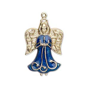 charm, gold-finished pewter (zinc-based alloy) and enamel, sapphire blue, 27x19mm single-sided angel. sold individually.