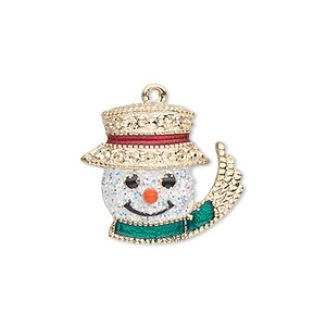charm, gold-finished pewter (zinc-based alloy) and enamel, white / green / red, 22x19mm single-sided snowman head with glittery face, top hat, scarf and carrot nose. sold individually.