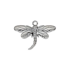 charm, gunmetal-plated brass, 26x15mm single-sided dragonfly. sold per pkg of 10.