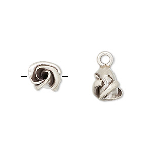 charm, hill tribes, antiqued fine silver, 10x9mm rose bud. sold individually.