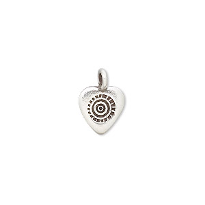 charm, hill tribes, antiqued fine silver, 11x9mm heart with circles. sold individually.