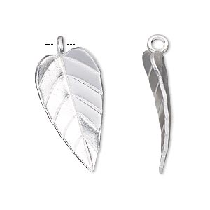 charm, hill tribes, silver-plated copper, 26x14mm single-sided leaf. sold individually.
